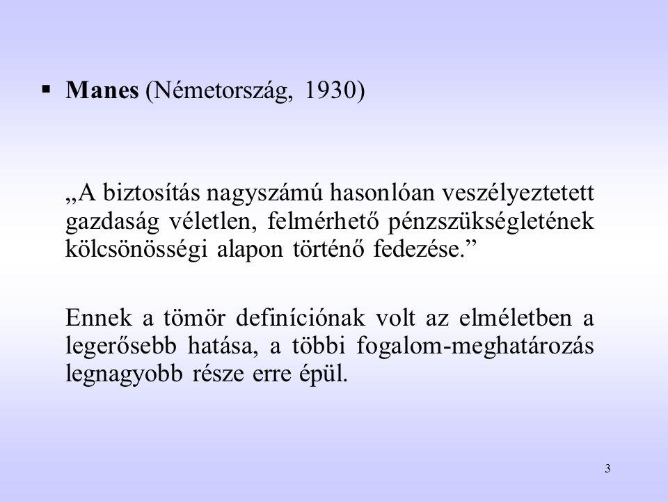 """3  Manes (Németország, 1930) """"A biztosítás nagyszámú hasonlóan veszélyeztetett gazdaság véletlen, felmérhető pénzszükségletének kölcsönösségi alapon"""