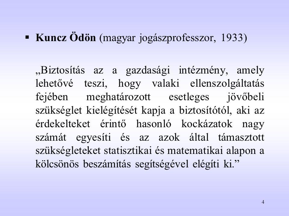 """4  Kuncz Ödön (magyar jogászprofesszor, 1933) """"Biztosítás az a gazdasági intézmény, amely lehetővé teszi, hogy valaki ellenszolgáltatás fejében megha"""