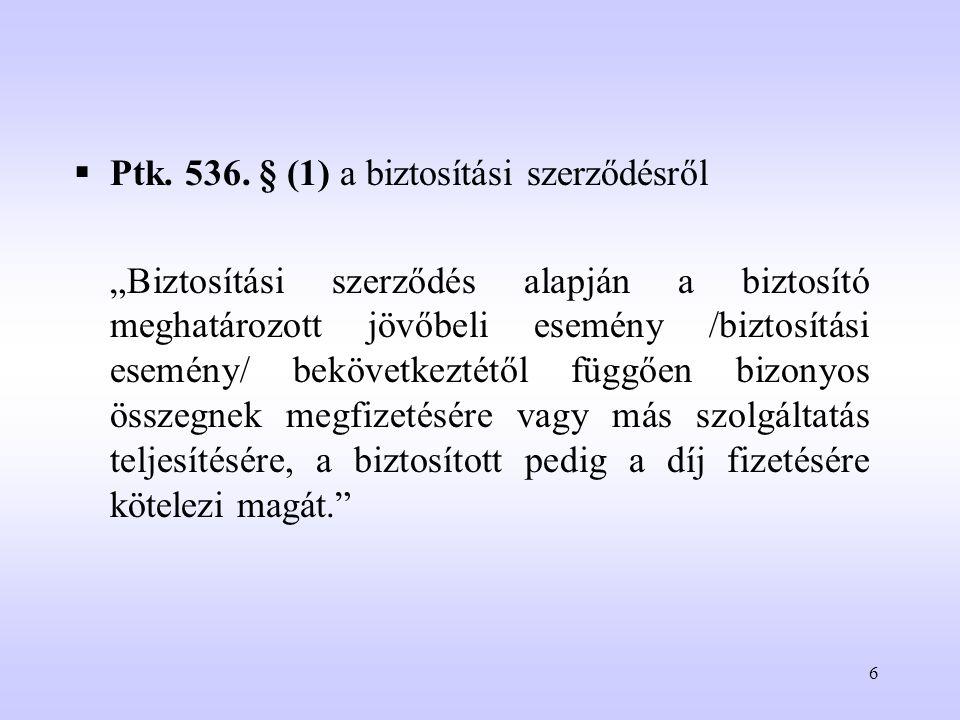 """6  Ptk. 536. § (1) a biztosítási szerződésről """"Biztosítási szerződés alapján a biztosító meghatározott jövőbeli esemény /biztosítási esemény/ bekövet"""