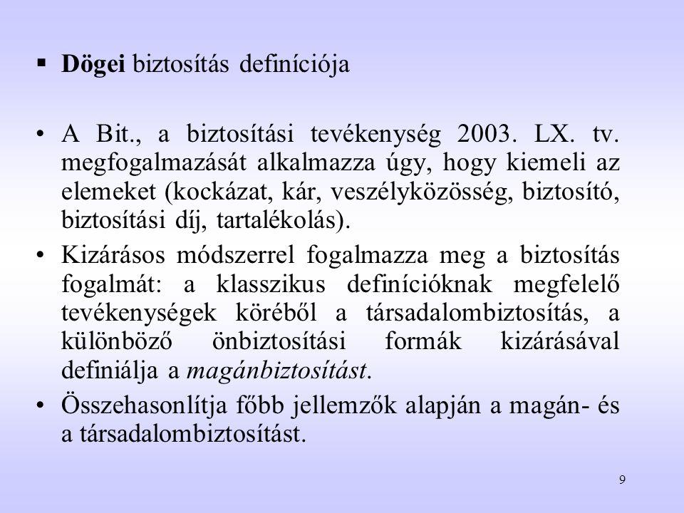 9  Dögei biztosítás definíciója A Bit., a biztosítási tevékenység 2003. LX. tv. megfogalmazását alkalmazza úgy, hogy kiemeli az elemeket (kockázat, k