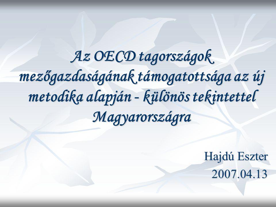 A magyar mezőgazdaság támogatottságának nemzetközi összehasonlítása PSE mutató Magyarországon jóval alacsonyabb az OECD tagországok átlagánál.