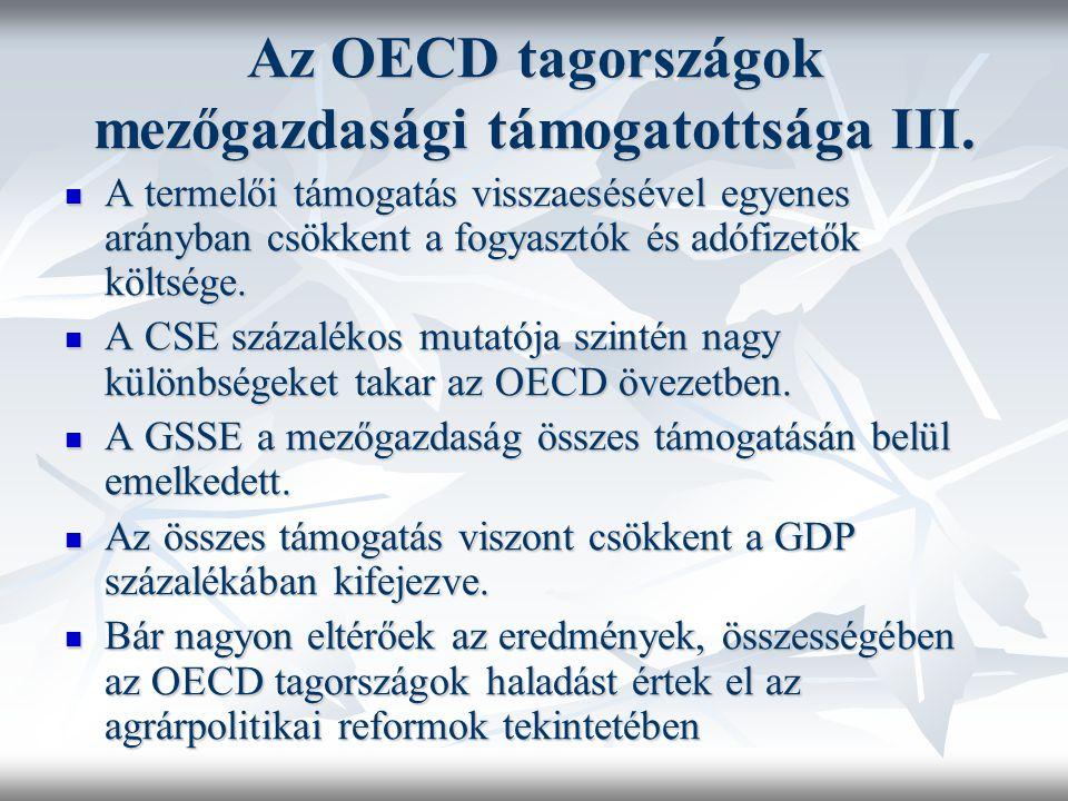 Az OECD tagországok mezőgazdasági támogatottsága III. A termelői támogatás visszaesésével egyenes arányban csökkent a fogyasztók és adófizetők költség