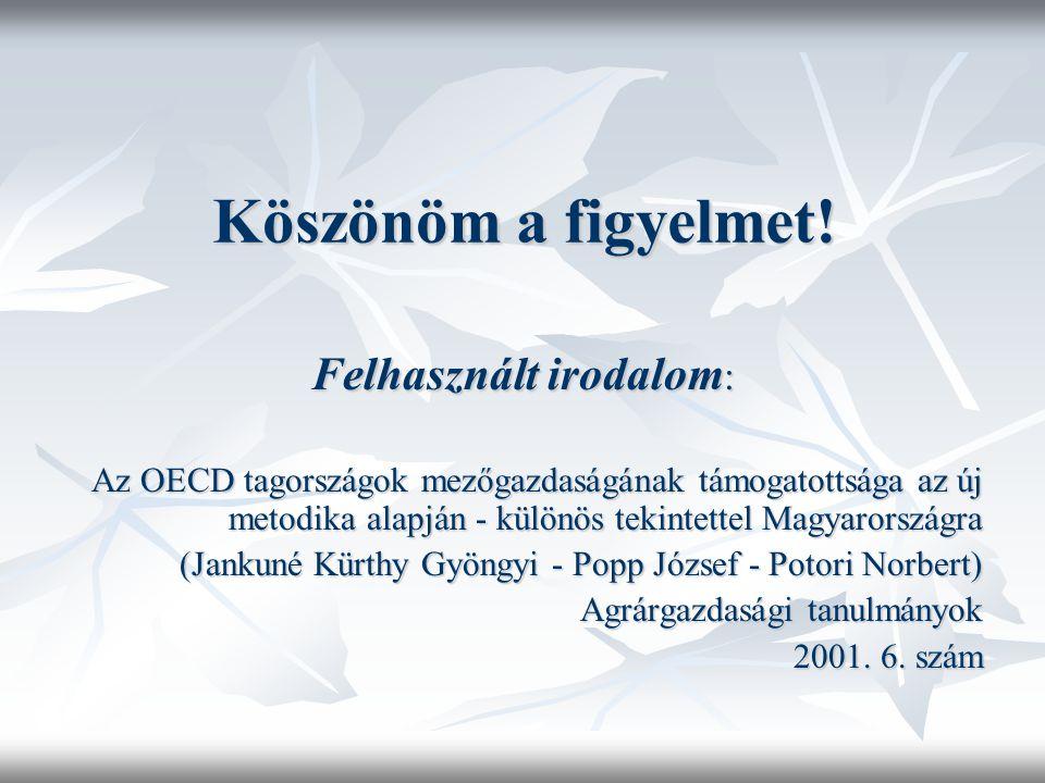Köszönöm a figyelmet! Felhasznált irodalom : Az OECD tagországok mezőgazdaságának támogatottsága az új metodika alapján - különös tekintettel Magyaror