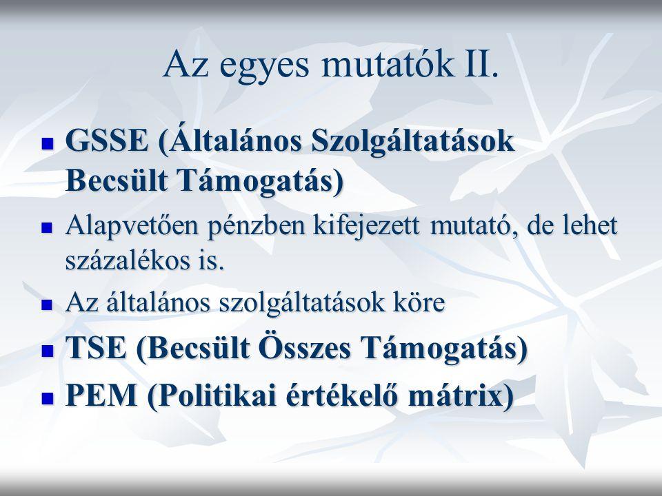 Az egyes mutatók II. GSSE (Általános Szolgáltatások Becsült Támogatás) GSSE (Általános Szolgáltatások Becsült Támogatás) Alapvetően pénzben kifejezett