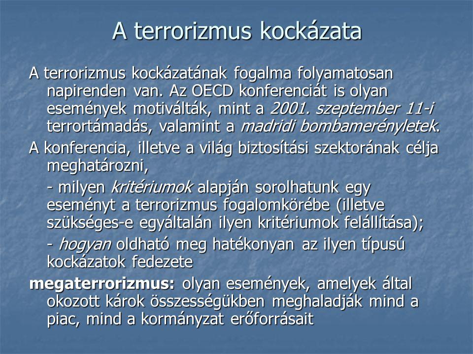 A terrorizmus kockázata A terrorizmus kockázatának fogalma folyamatosan napirenden van. Az OECD konferenciát is olyan események motiválták, mint a 200