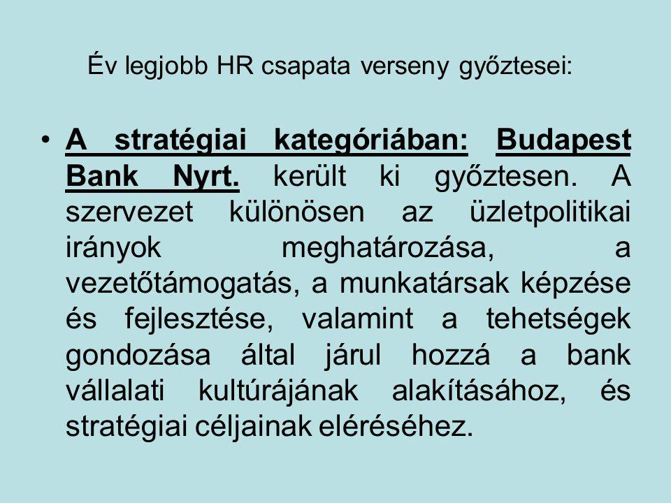 Év legjobb HR csapata verseny győztesei: A stratégiai kategóriában: Budapest Bank Nyrt.