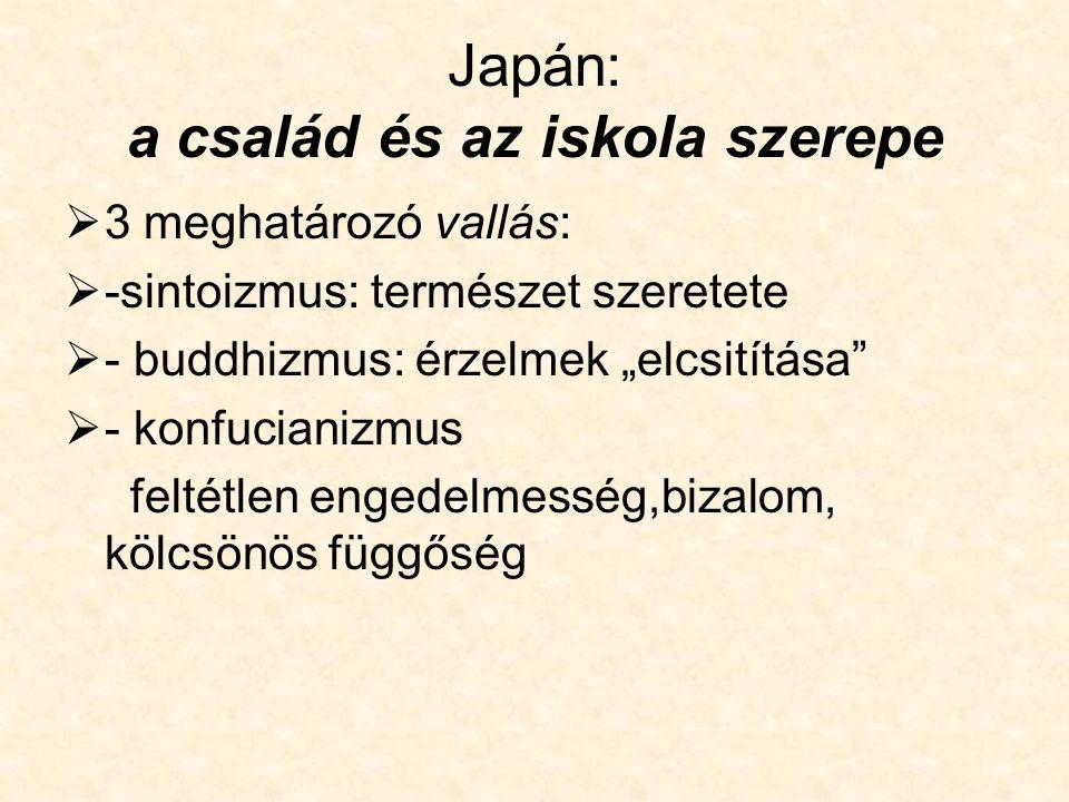 Japán szervezeti kultúra  Kisvállalatok, nagyvállalatok  Csoport iráni elköteleződés megjelenése  Vállalati én–tudat->nem szakma/munkakör  Családi minta alkalmazása a vállalati életben  Család- vállalat összekapcsolódása-> teljes elköteleződés,bensőséges kapcsolatok