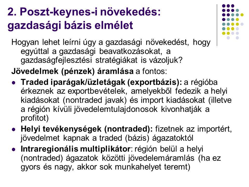 2. Poszt-keynes-i növekedés: gazdasági bázis elmélet Hogyan lehet leírni úgy a gazdasági növekedést, hogy egyúttal a gazdasági beavatkozásokat, a gazd