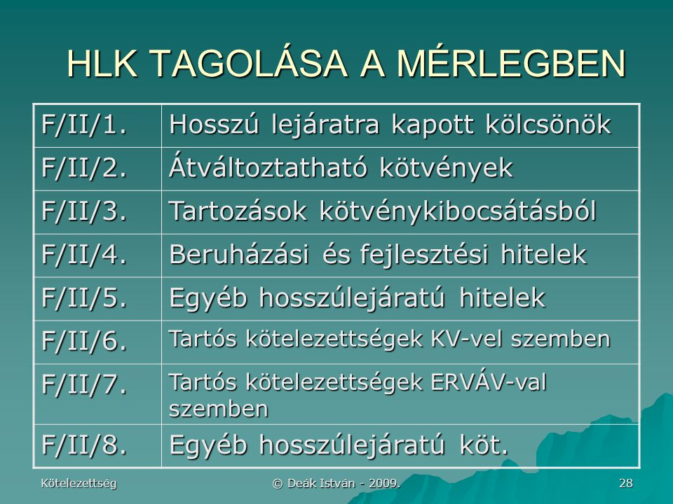 Kötelezettség © Deák István - 2009.28 HLK TAGOLÁSA A MÉRLEGBEN F/II/1.