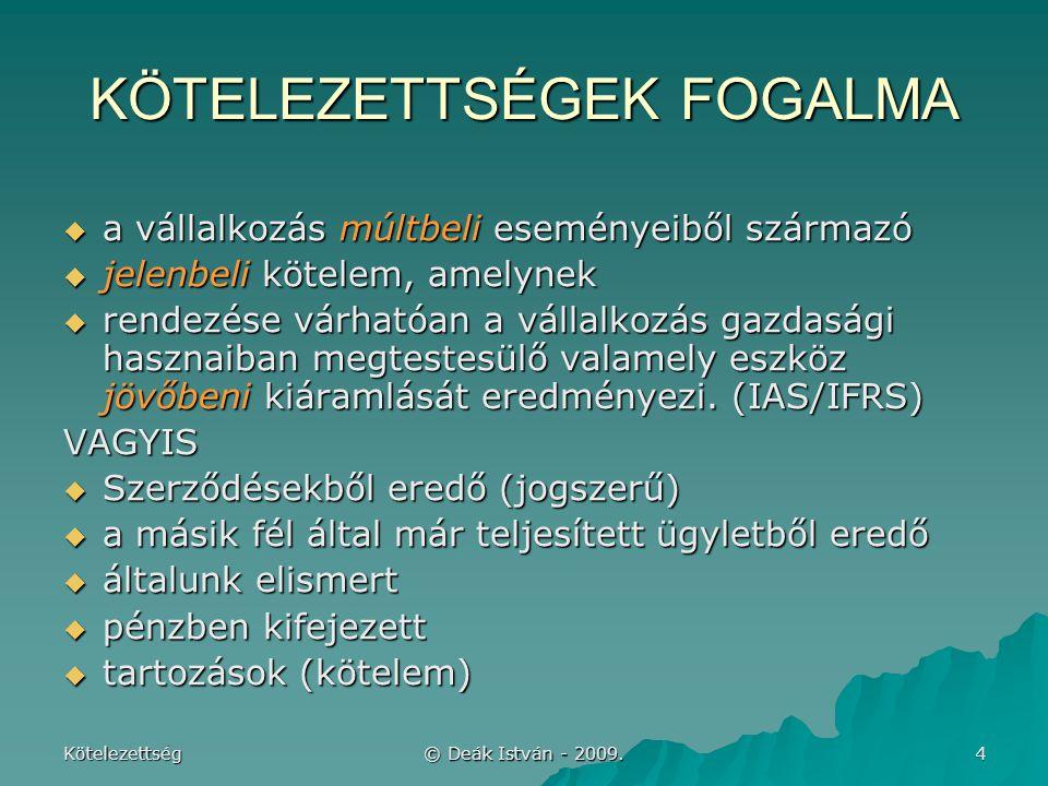 """Kötelezettség © Deák István - 2009.15 BEKERÜLÉSI ÉRTÉK: """"névérték  Sztv."""