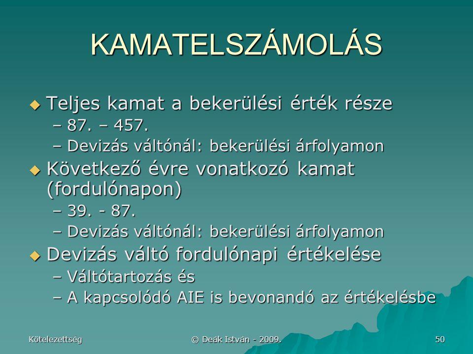 Kötelezettség © Deák István - 2009.50 KAMATELSZÁMOLÁS  Teljes kamat a bekerülési érték része –87.
