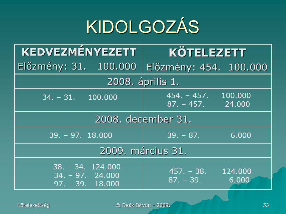 Kötelezettség © Deák István - 2009.53 KIDOLGOZÁS KEDVEZMÉNYEZETT Előzmény: 31.