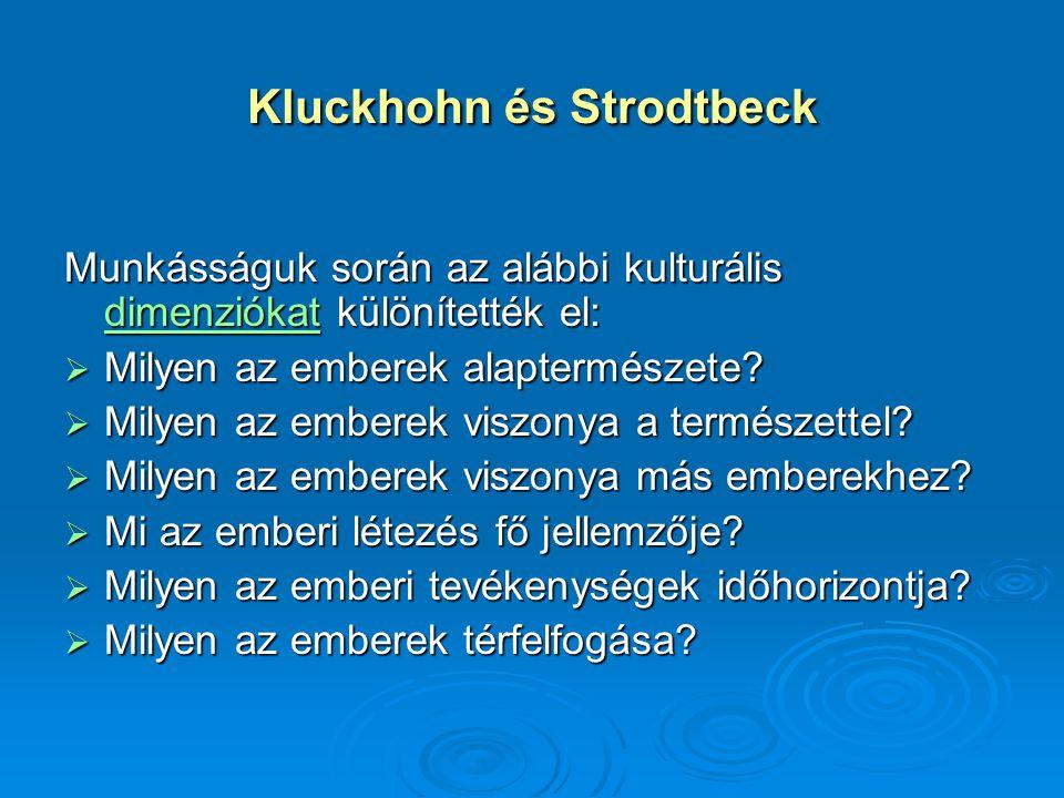 Kluckhohn és Strodtbeck Munkásságuk során az alábbi kulturális dimenziókat különítették el: dimenziókat  Milyen az emberek alaptermészete?  Milyen a