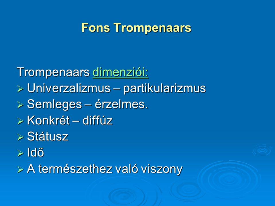 Fons Trompenaars Fons Trompenaars Trompenaars dimenziói: dimenziói:  Univerzalizmus – partikularizmus  Semleges – érzelmes.  Konkrét – diffúz  Stá