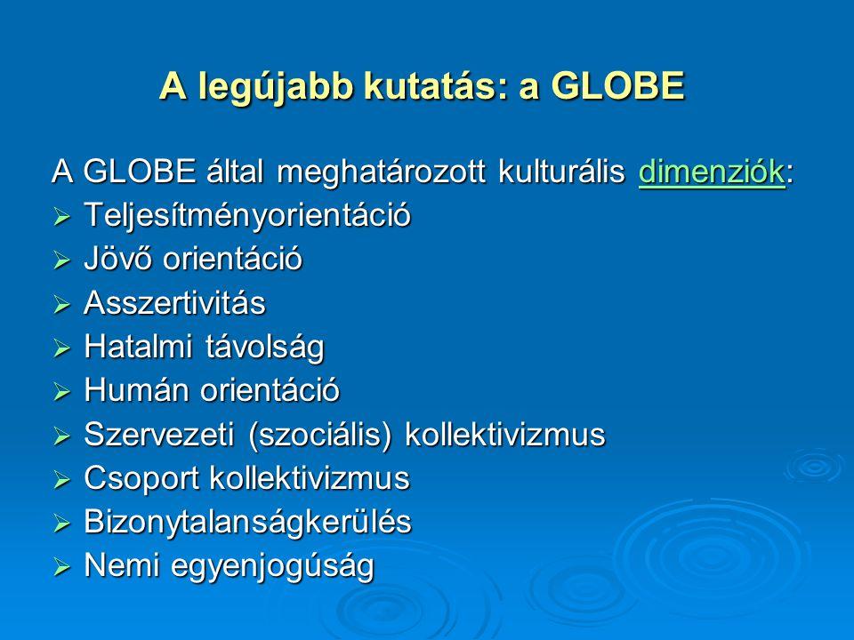 A legújabb kutatás: a GLOBE A legújabb kutatás: a GLOBE A GLOBE által meghatározott kulturális dimenziók: dimenziók  Teljesítményorientáció  Jövő or