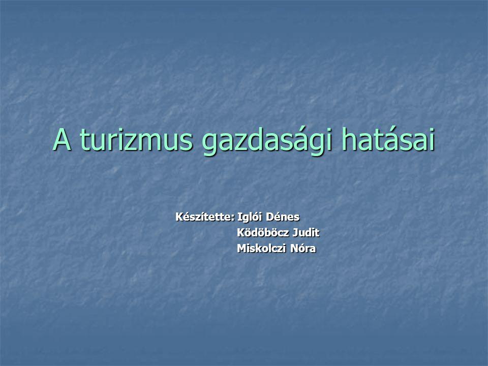 A turizmus gazdasági hatásai Készítette: Iglói Dénes Ködöböcz Judit Ködöböcz Judit Miskolczi Nóra Miskolczi Nóra