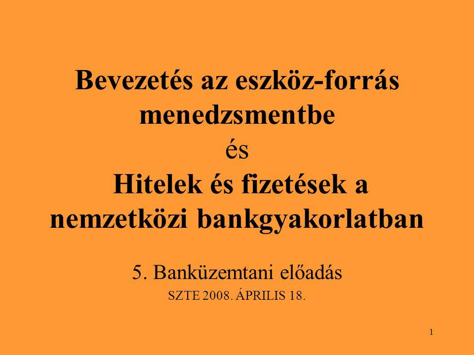 1 Bevezetés az eszköz-forrás menedzsmentbe és Hitelek és fizetések a nemzetközi bankgyakorlatban 5.