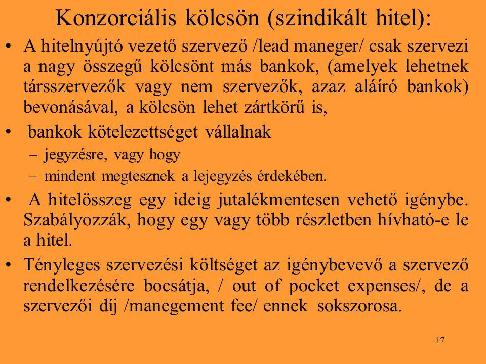 17 Konzorciális kölcsön (szindikált hitel): A hitelnyújtó vezető szervező /lead maneger/ csak szervezi a nagy összegű kölcsönt más bankok, (amelyek lehetnek társszervezők vagy nem szervezők, azaz aláíró bankok) bevonásával, a kölcsön lehet zártkörű is, bankok kötelezettséget vállalnak –jegyzésre, vagy hogy –mindent megtesznek a lejegyzés érdekében.