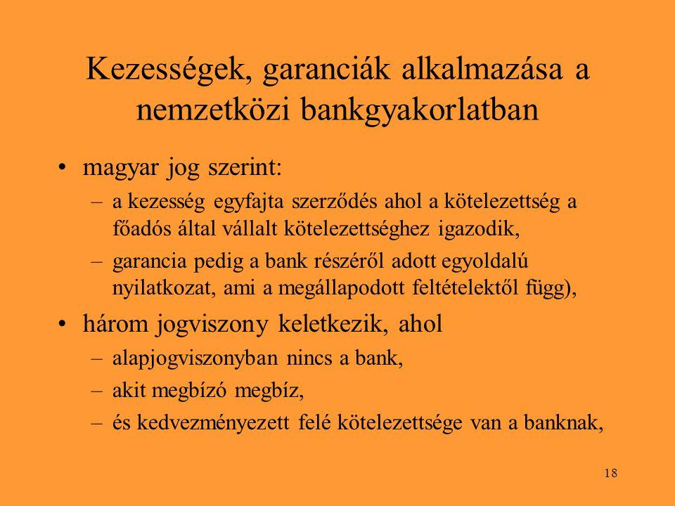 18 Kezességek, garanciák alkalmazása a nemzetközi bankgyakorlatban magyar jog szerint: –a kezesség egyfajta szerződés ahol a kötelezettség a főadós által vállalt kötelezettséghez igazodik, –garancia pedig a bank részéről adott egyoldalú nyilatkozat, ami a megállapodott feltételektől függ), három jogviszony keletkezik, ahol –alapjogviszonyban nincs a bank, –akit megbízó megbíz, –és kedvezményezett felé kötelezettsége van a banknak,