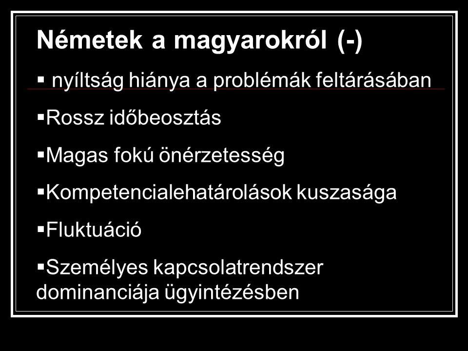 Németek a magyarokról (-)  nyíltság hiánya a problémák feltárásában  Rossz időbeosztás  Magas fokú önérzetesség  Kompetencialehatárolások kuszaság