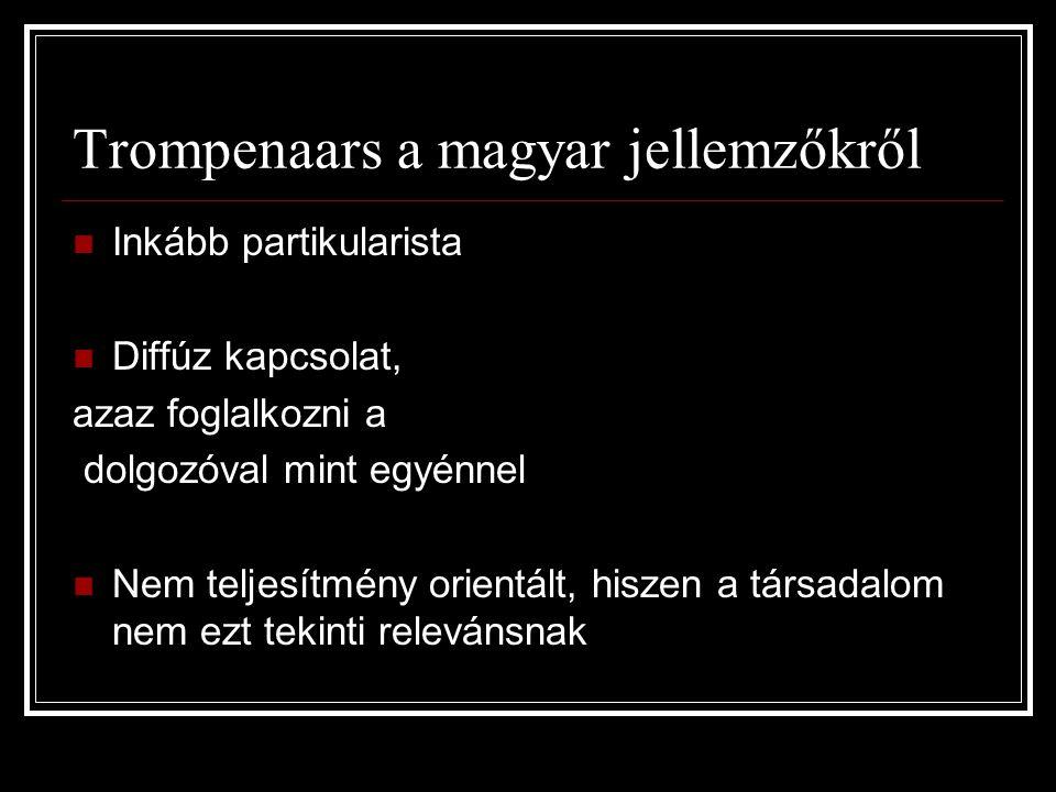 Trompenaars a magyar jellemzőkről Inkább partikularista Diffúz kapcsolat, azaz foglalkozni a dolgozóval mint egyénnel Nem teljesítmény orientált, hisz