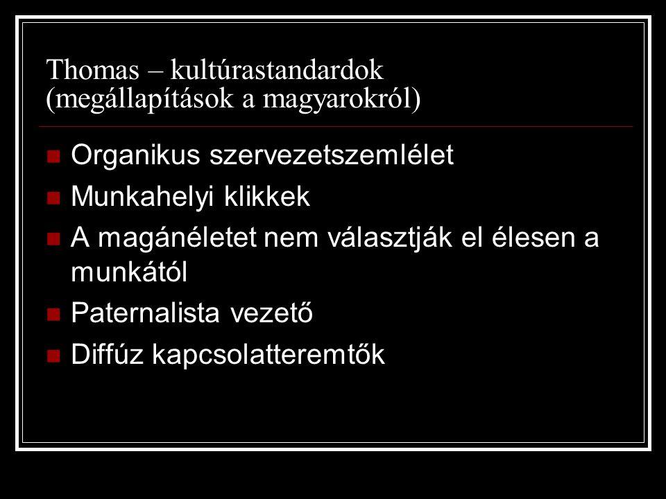 Thomas – kultúrastandardok (megállapítások a magyarokról) Organikus szervezetszemlélet Munkahelyi klikkek A magánéletet nem választják el élesen a mun