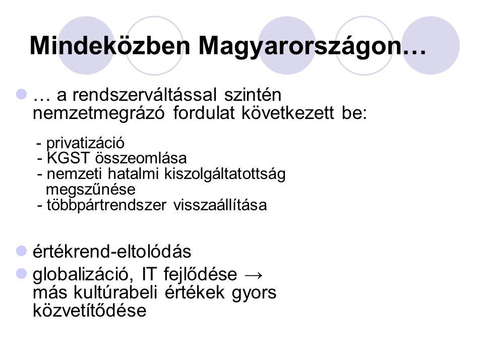 Mindeközben Magyarországon… … a rendszerváltással szintén nemzetmegrázó fordulat következett be: - privatizáció - KGST összeomlása - nemzeti hatalmi k