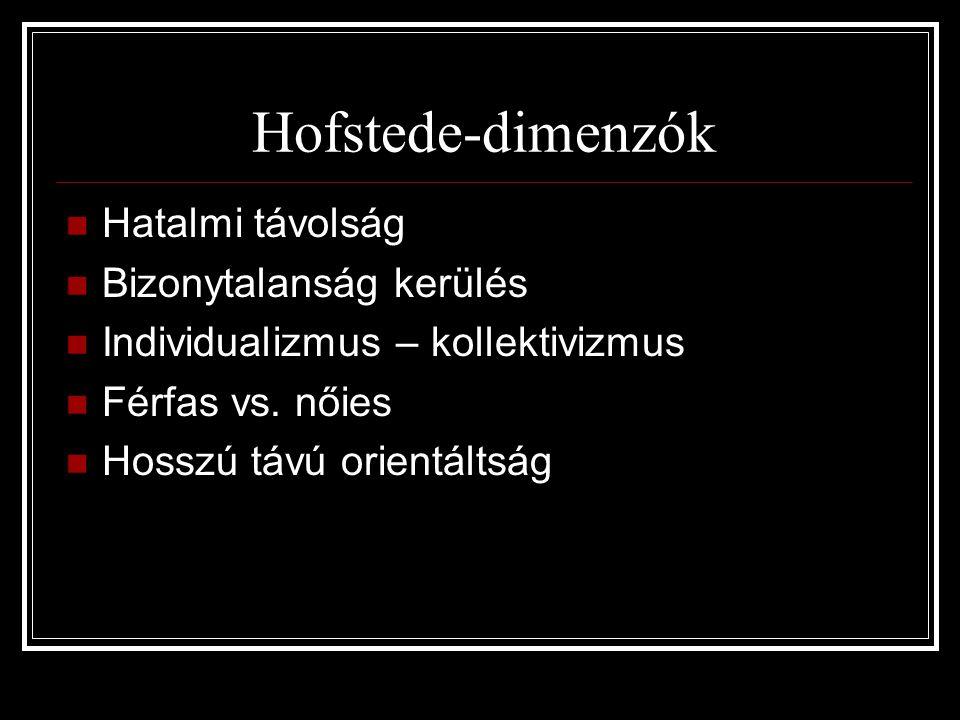 Hofstede-dimenzók Hatalmi távolság Bizonytalanság kerülés Individualizmus – kollektivizmus Férfas vs. nőies Hosszú távú orientáltság