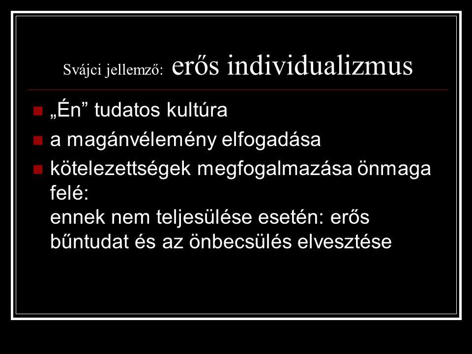 """Svájci jellemző: erős individualizmus """"Én"""" tudatos kultúra a magánvélemény elfogadása kötelezettségek megfogalmazása önmaga felé: ennek nem teljesülés"""