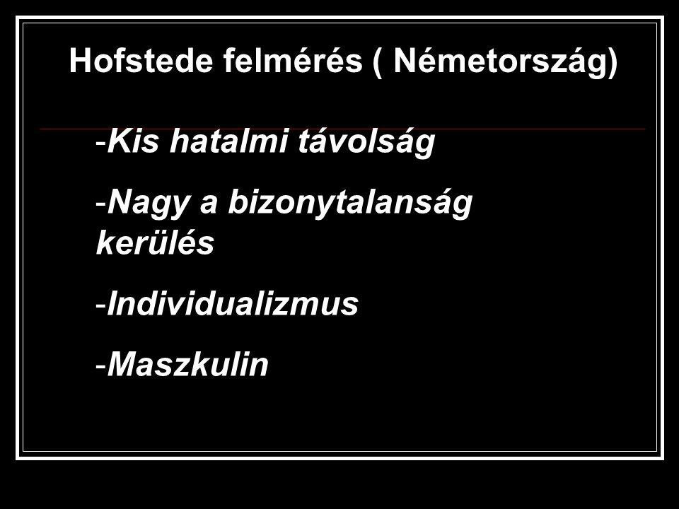 Hofstede felmérés ( Németország) -Kis hatalmi távolság -Nagy a bizonytalanság kerülés -Individualizmus -Maszkulin