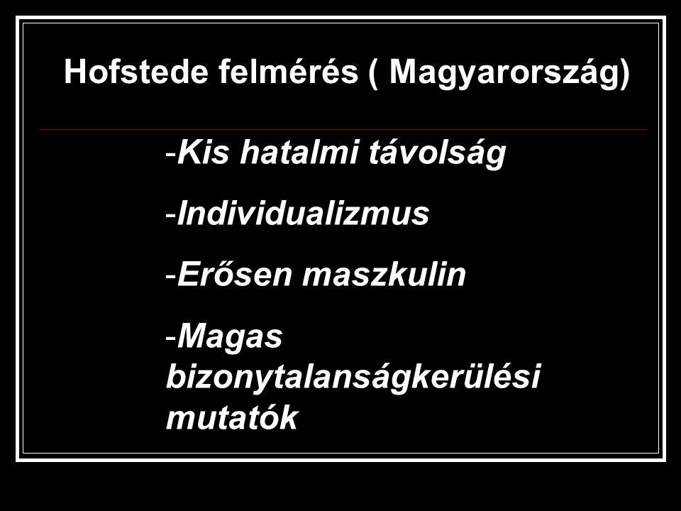 Hofstede felmérés ( Magyarország) -Kis hatalmi távolság -Individualizmus -Erősen maszkulin -Magas bizonytalanságkerülési mutatók