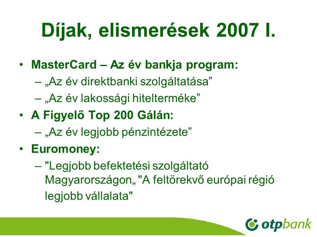 """10 Díjak, elismerések 2007 I. MasterCard – Az év bankja program: –""""Az év direktbanki szolgáltatása"""" –""""Az év lakossági hitelterméke"""" A Figyelő Top 200"""