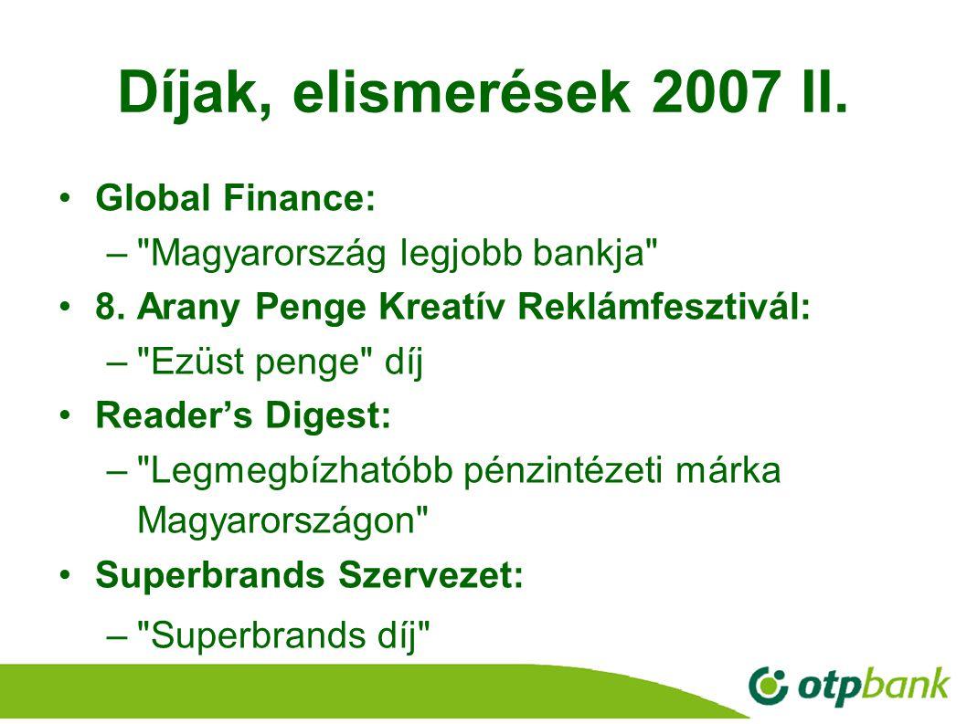 11 Díjak, elismerések 2007 II. Global Finance: –