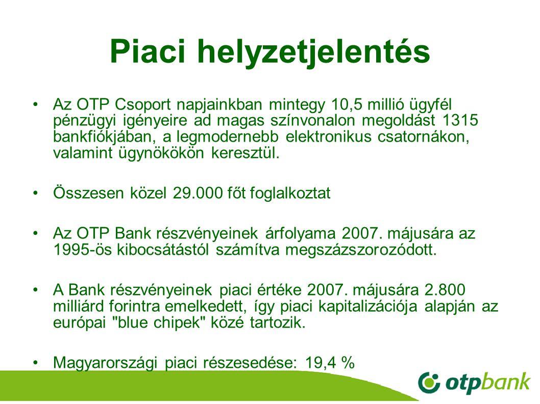 12 Piaci helyzetjelentés Az OTP Csoport napjainkban mintegy 10,5 millió ügyfél pénzügyi igényeire ad magas színvonalon megoldást 1315 bankfiókjában, a