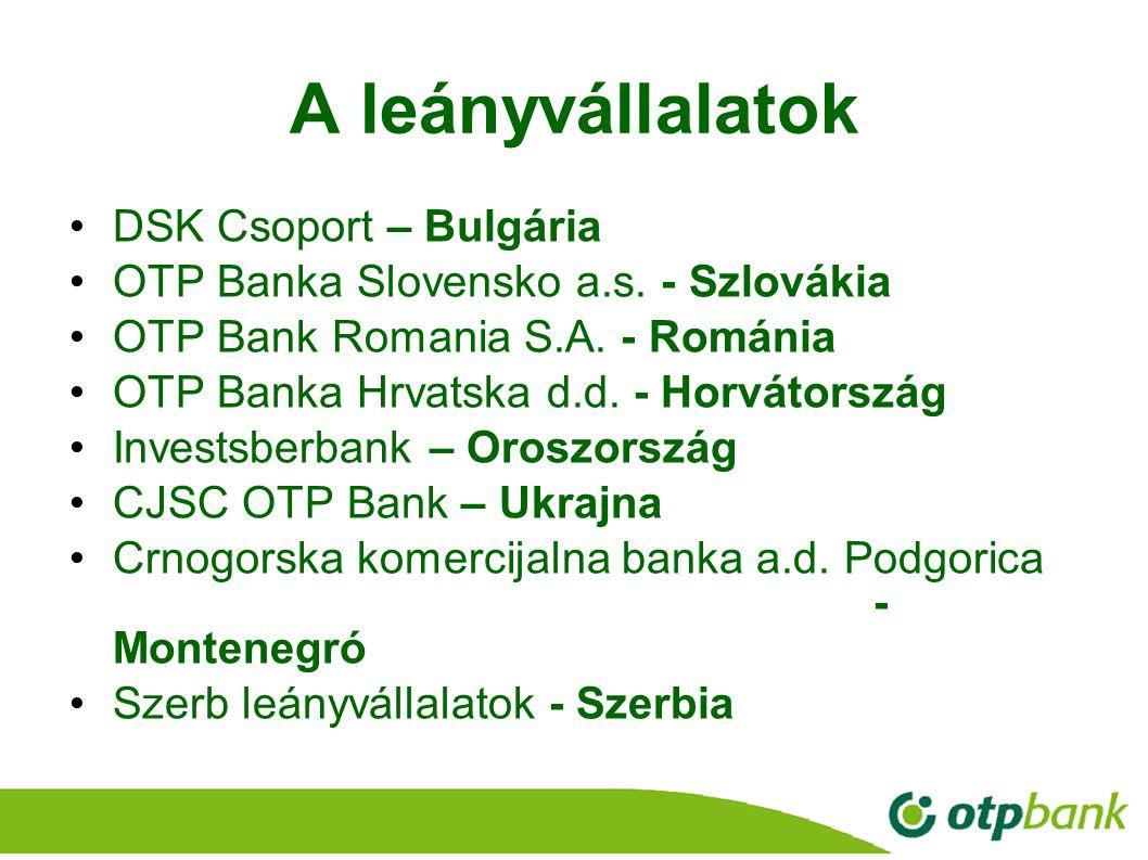 17 A leányvállalatok DSK Csoport – Bulgária OTP Banka Slovensko a.s. - Szlovákia OTP Bank Romania S.A. - Románia OTP Banka Hrvatska d.d. - Horvátorszá