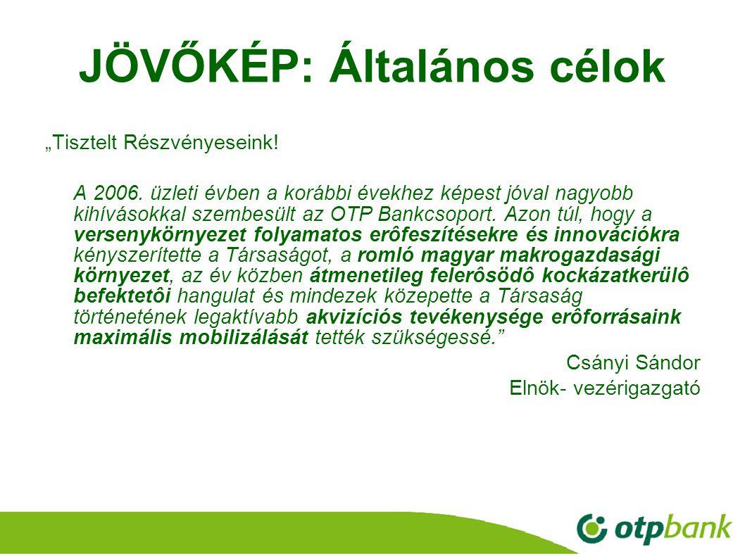 """20 JÖVŐKÉP: Általános célok """"Tisztelt Részvényeseink! A 2006. üzleti évben a korábbi évekhez képest jóval nagyobb kihívásokkal szembesült az OTP Bankc"""