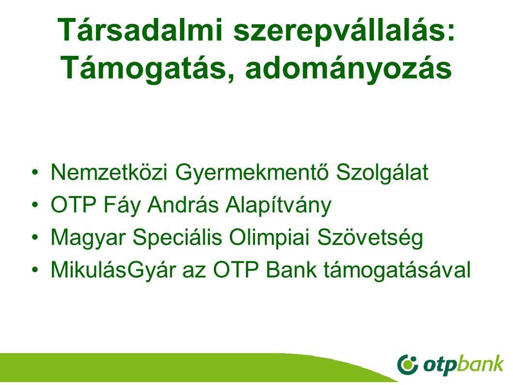 27 Társadalmi szerepvállalás: Támogatás, adományozás Nemzetközi Gyermekmentő Szolgálat OTP Fáy András Alapítvány Magyar Speciális Olimpiai Szövetség M