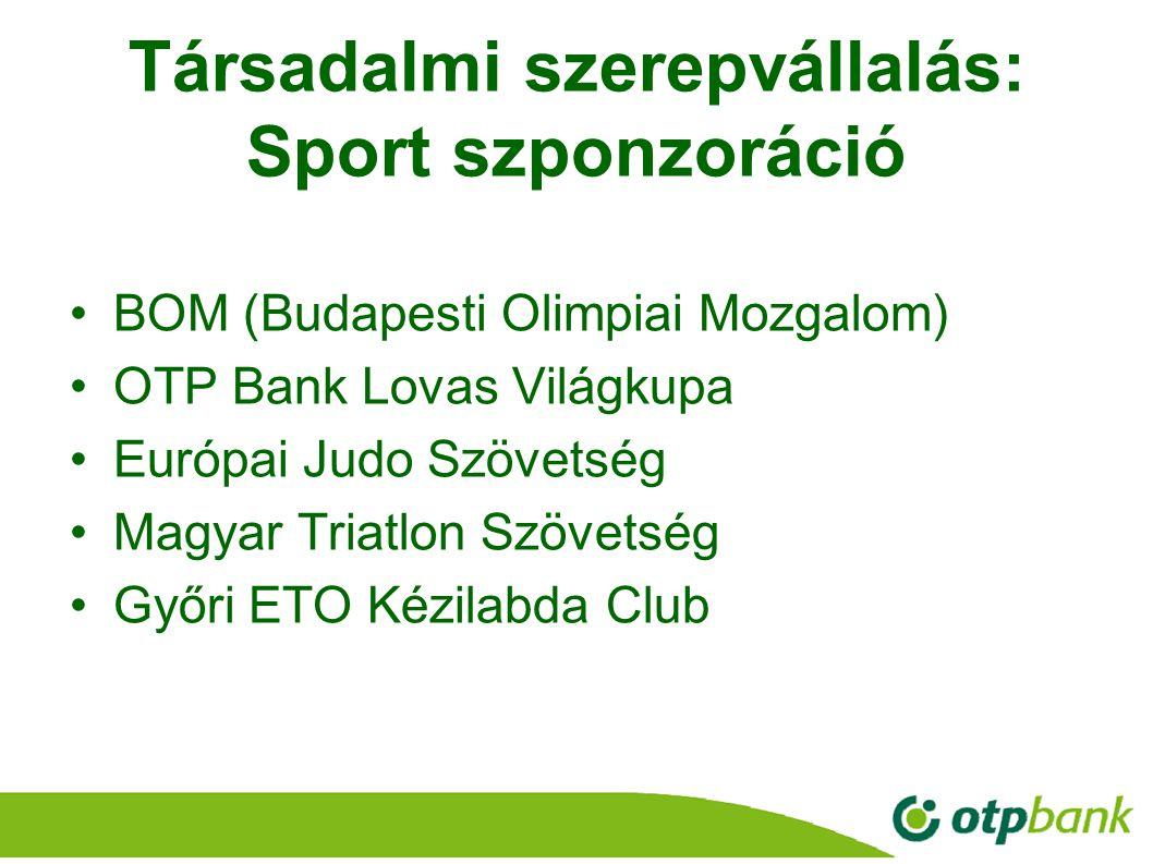 31 Társadalmi szerepvállalás: Sport szponzoráció BOM (Budapesti Olimpiai Mozgalom) OTP Bank Lovas Világkupa Európai Judo Szövetség Magyar Triatlon Szö