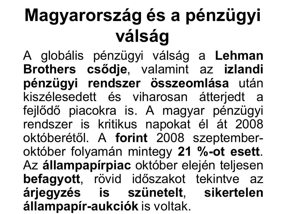 Magyarország és a pénzügyi válság A globális pénzügyi válság a Lehman Brothers csődje, valamint az izlandi pénzügyi rendszer összeomlása után kiszéles