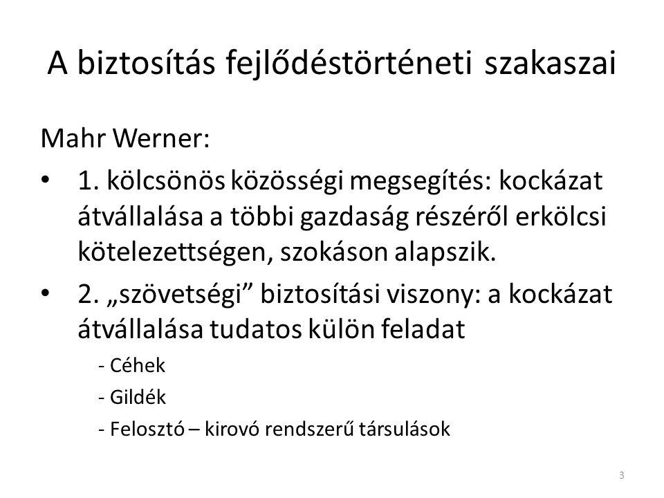 A biztosítás fejlődéstörténeti szakaszai Mahr Werner: 1.
