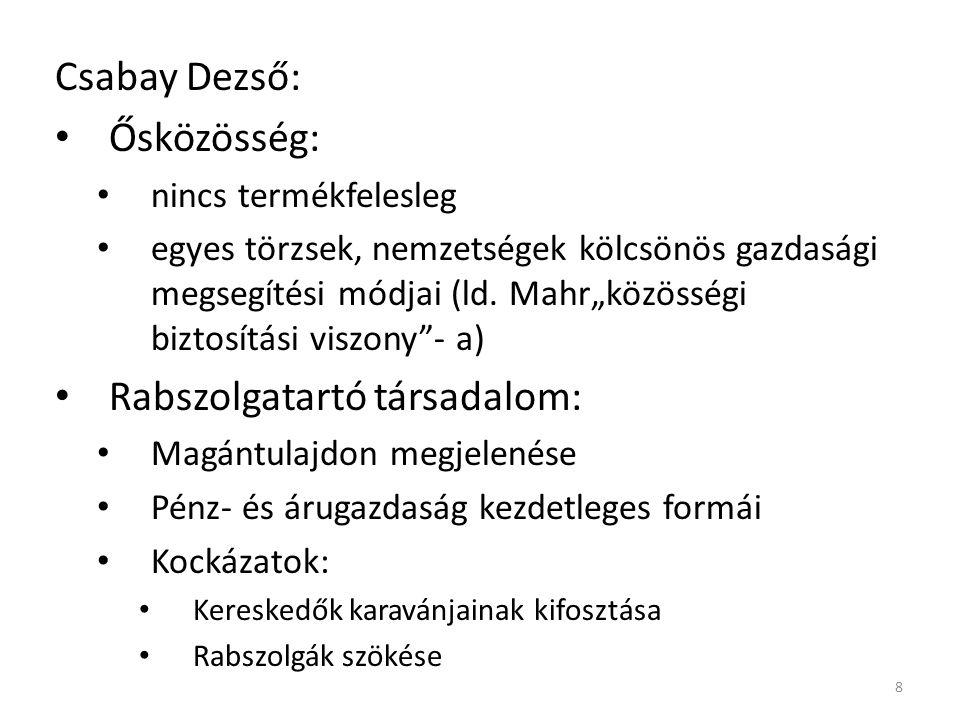 Csabay Dezső: Ősközösség: nincs termékfelesleg egyes törzsek, nemzetségek kölcsönös gazdasági megsegítési módjai (ld.