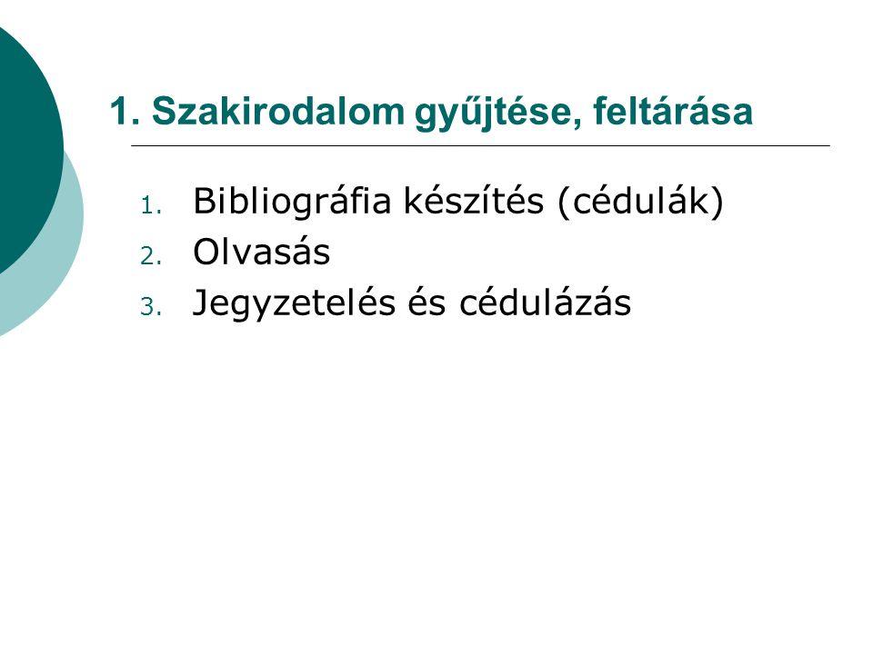 1. Szakirodalom gyűjtése, feltárása 1. Bibliográfia készítés (cédulák) 2. Olvasás 3. Jegyzetelés és cédulázás