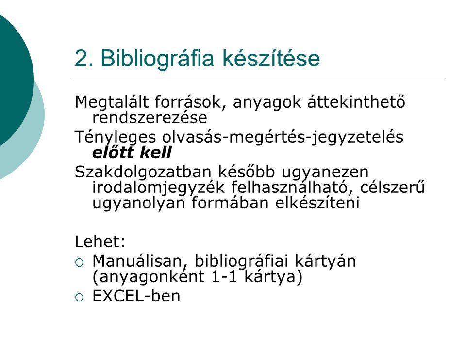 2. Bibliográfia készítése Megtalált források, anyagok áttekinthető rendszerezése Tényleges olvasás-megértés-jegyzetelés előtt kell Szakdolgozatban kés