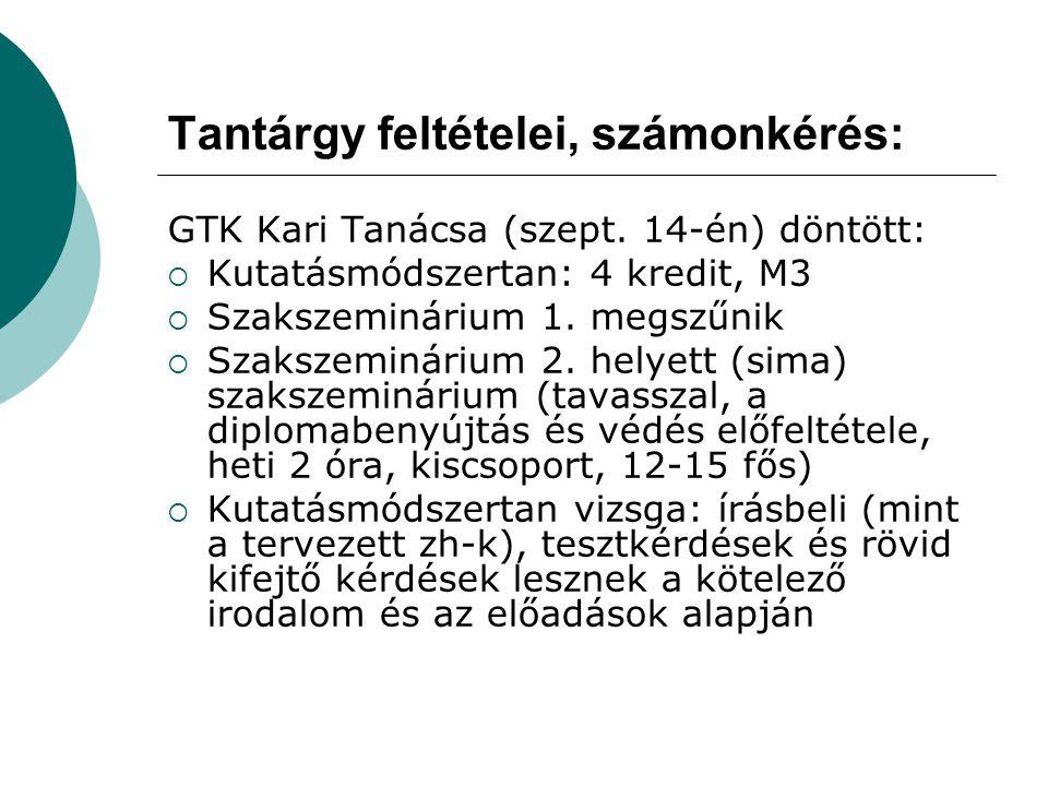 Tantárgy feltételei, számonkérés: GTK Kari Tanácsa (szept. 14-én) döntött:  Kutatásmódszertan: 4 kredit, M3  Szakszeminárium 1. megszűnik  Szakszem