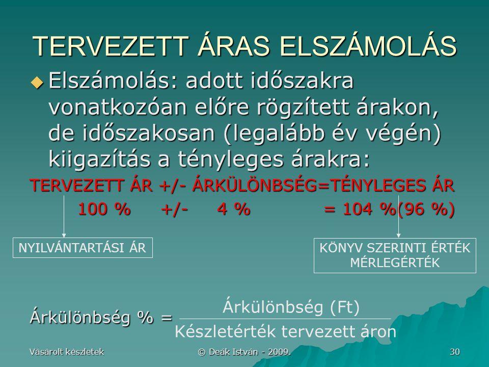 Vásárolt készletek © Deák István - 2009. 30 TERVEZETT ÁRAS ELSZÁMOLÁS  Elszámolás: adott időszakra vonatkozóan előre rögzített árakon, de időszakosan