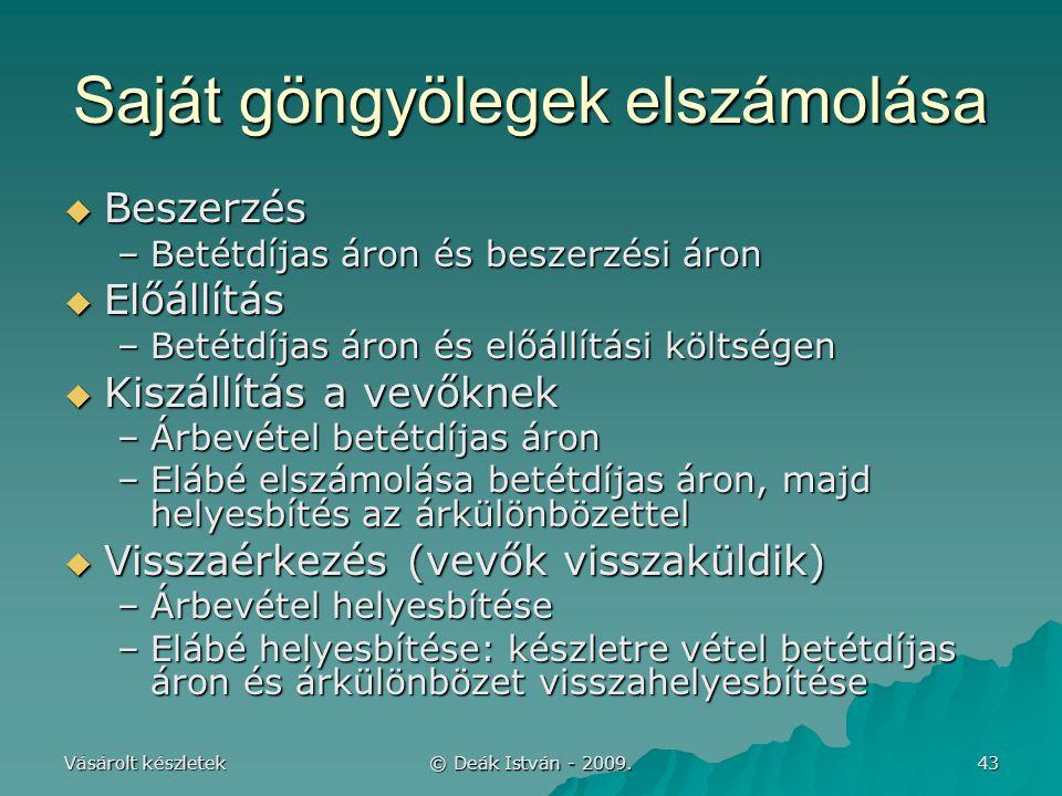 Vásárolt készletek © Deák István - 2009. 43 Saját göngyölegek elszámolása  Beszerzés –Betétdíjas áron és beszerzési áron  Előállítás –Betétdíjas áro