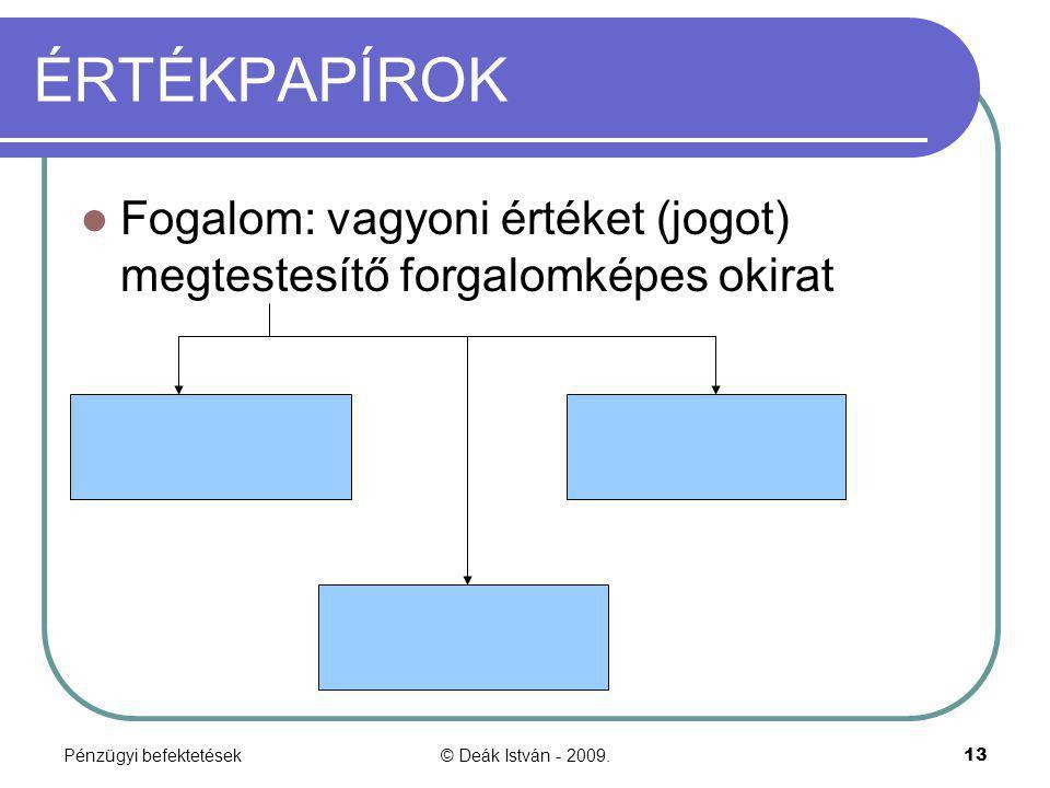 Pénzügyi befektetések© Deák István - 2009.13 ÉRTÉKPAPÍROK Fogalom: vagyoni értéket (jogot) megtestesítő forgalomképes okirat