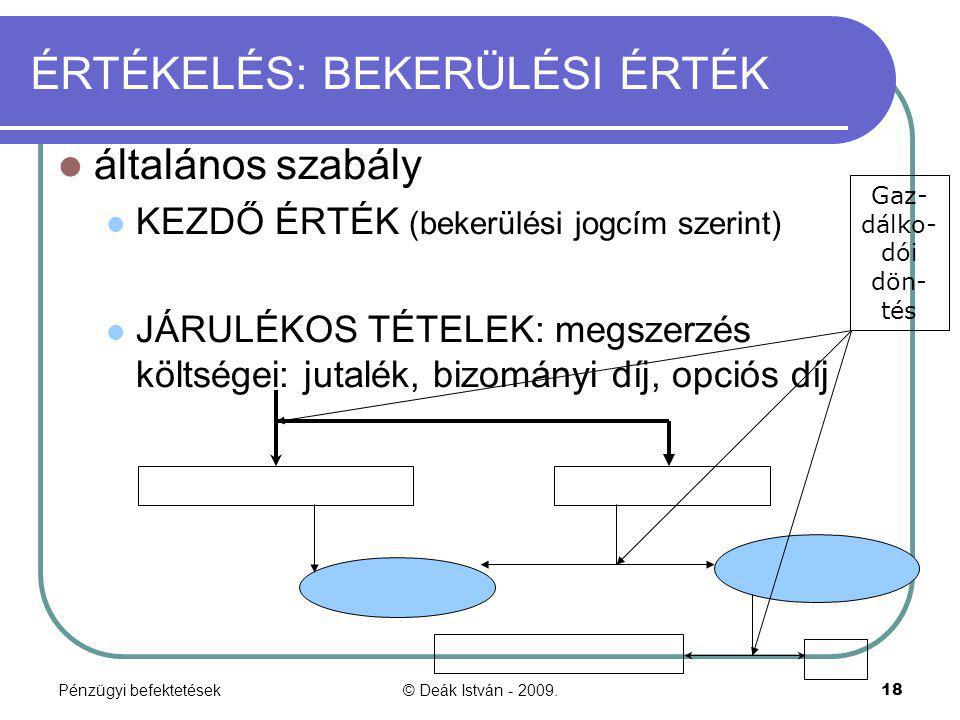 Pénzügyi befektetések© Deák István - 2009.18 ÉRTÉKELÉS: BEKERÜLÉSI ÉRTÉK általános szabály KEZDŐ ÉRTÉK (bekerülési jogcím szerint) JÁRULÉKOS TÉTELEK: