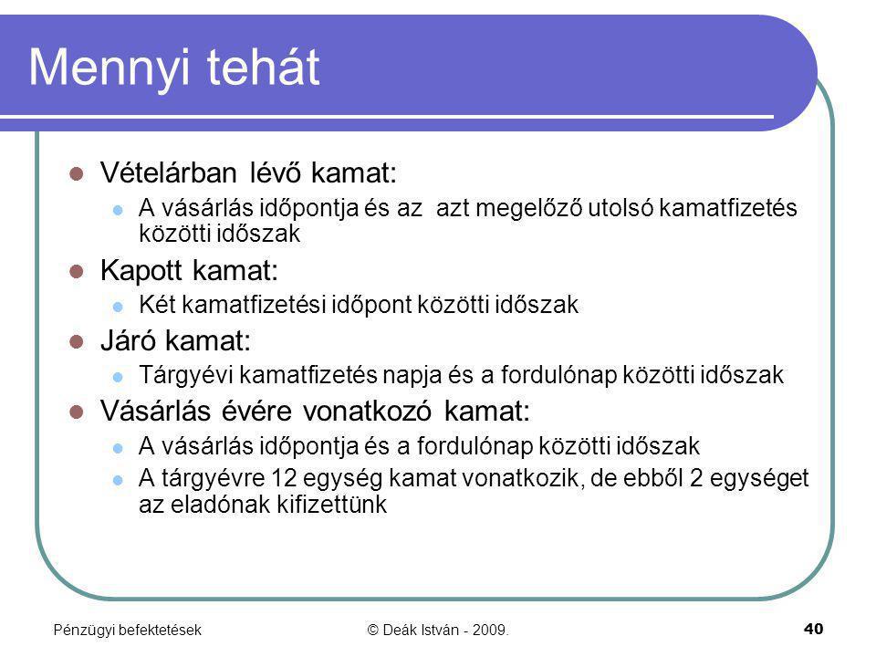 Pénzügyi befektetések© Deák István - 2009.40 Mennyi tehát Vételárban lévő kamat: A vásárlás időpontja és az azt megelőző utolsó kamatfizetés közötti i