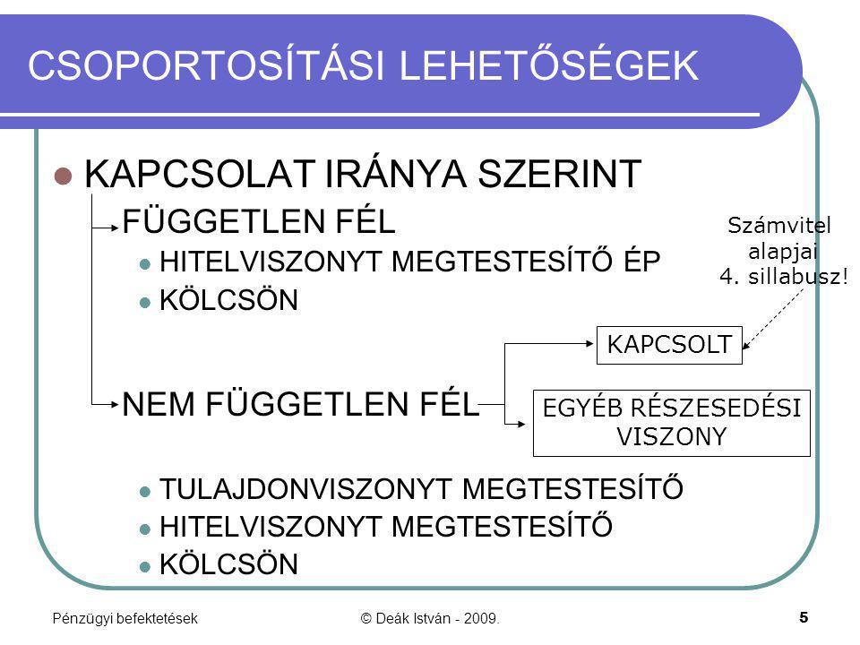 Pénzügyi befektetések© Deák István - 2009.16 TULAJDONVISZONYT MEGTESTESÍTŐ ÉRTÉKPAPÍROK (sztv.